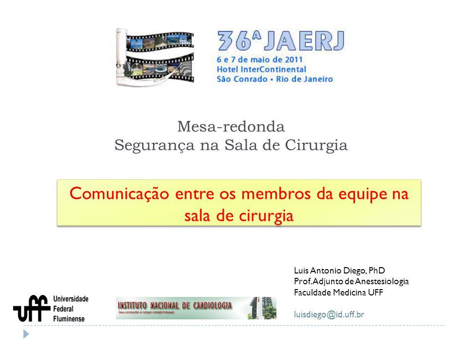 Mesa-redonda Segurança na Sala de Cirurgia Comunicação entre os membros da equipe na sala de cirurgia Luis Antonio Diego, PhD Prof. Adjunto de Anestes