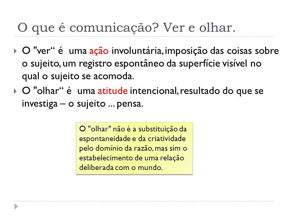O que é comunicação? Ver e olhar. O