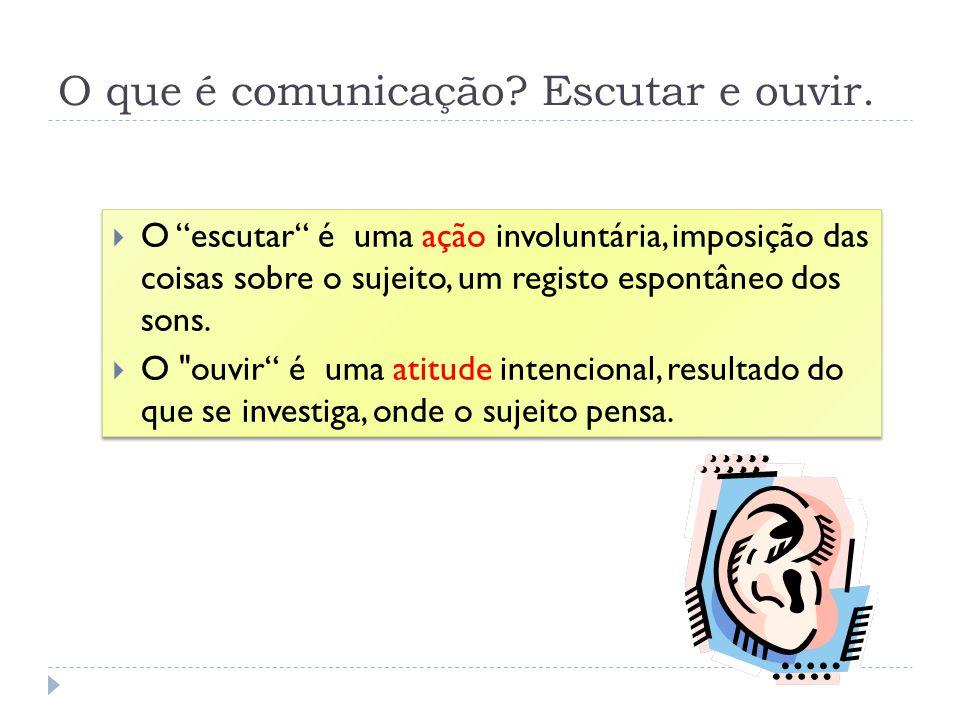 O que é comunicação? Escutar e ouvir. O escutar é uma ação involuntária, imposição das coisas sobre o sujeito, um registo espontâneo dos sons. O