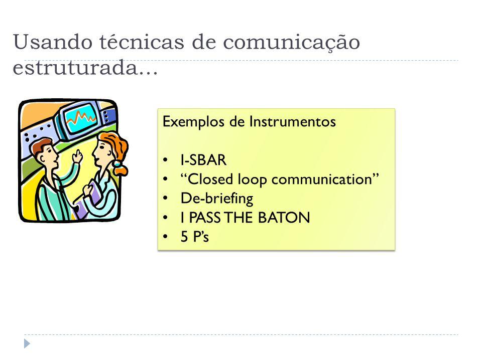 Usando técnicas de comunicação estruturada... Exemplos de Instrumentos I-SBAR Closed loop communication De-briefing I PASS THE BATON 5 Ps Exemplos de
