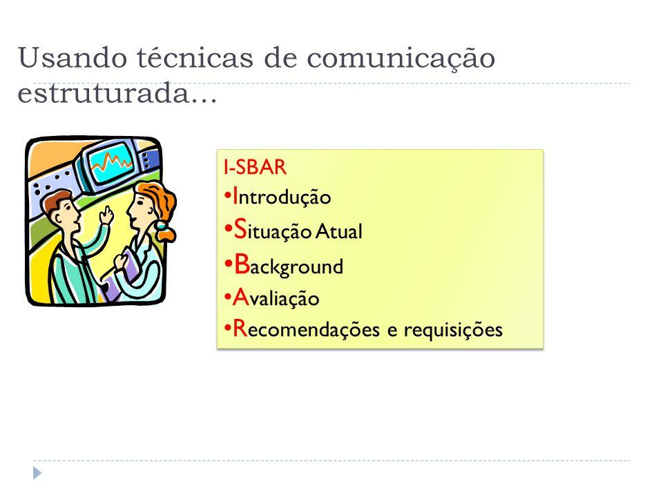 Usando técnicas de comunicação estruturada... I-SBAR I ntrodução S ituação Atual B ackground A valiação R ecomendações e requisições I-SBAR I ntroduçã