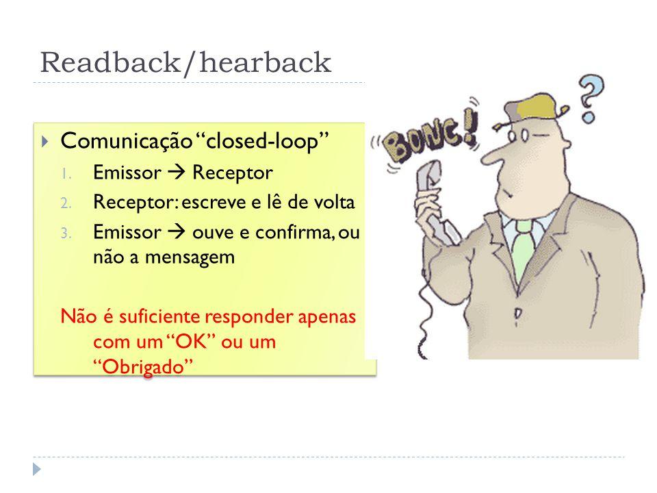 Readback/hearback Comunicação closed-loop 1. Emissor Receptor 2. Receptor: escreve e lê de volta 3. Emissor ouve e confirma, ou não a mensagem Não é s