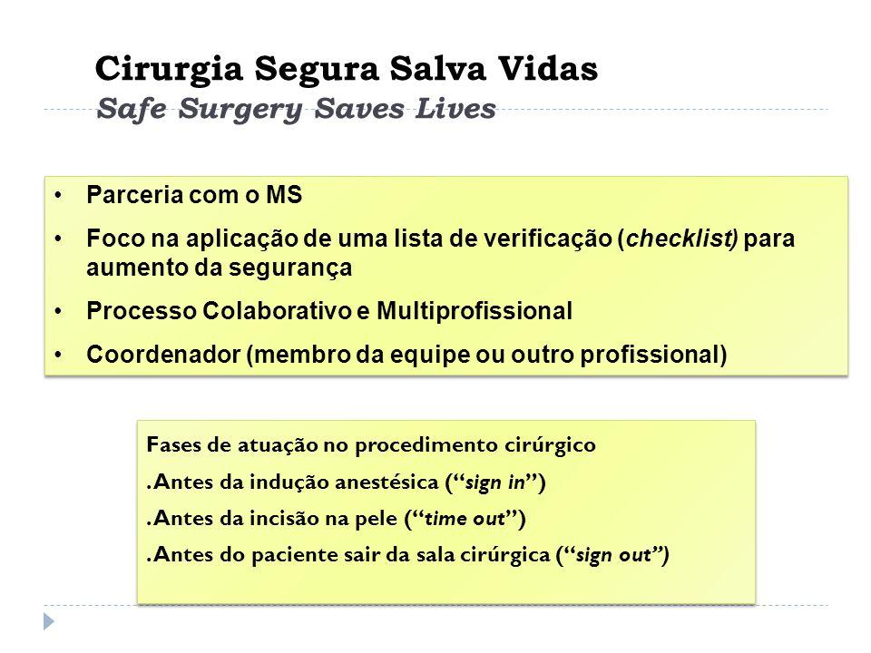 Cirurgia Segura Salva Vidas Safe Surgery Saves Lives Parceria com o MS Foco na aplicação de uma lista de verificação (checklist) para aumento da segur