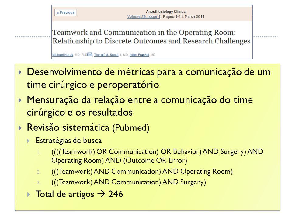 Desenvolvimento de métricas para a comunicação de um time cirúrgico e peroperatório Mensuração da relação entre a comunicação do time cirúrgico e os r
