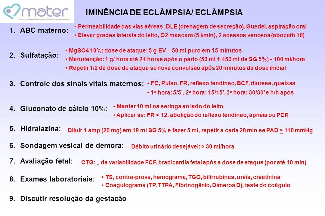 IMINÊNCIA DE ECLÂMPSIA/ ECLÂMPSIA 1.ABC materno: 2.Sulfatação: 3.Controle dos sinais vitais maternos: 4.Gluconato de cálcio 10%: 5.Hidralazina: 6.Sond