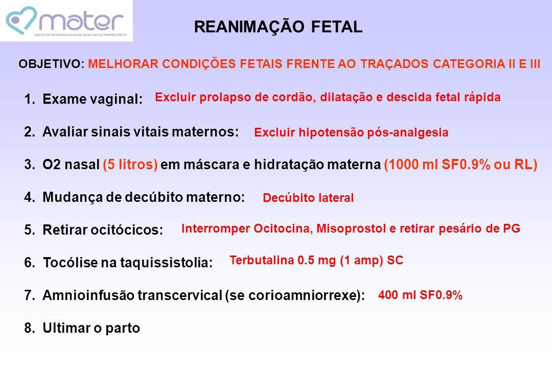 REANIMAÇÃO FETAL 1.Exame vaginal: 2.Avaliar sinais vitais maternos: 3.O2 nasal (5 litros) em máscara e hidratação materna (1000 ml SF0.9% ou RL) 4.Mud