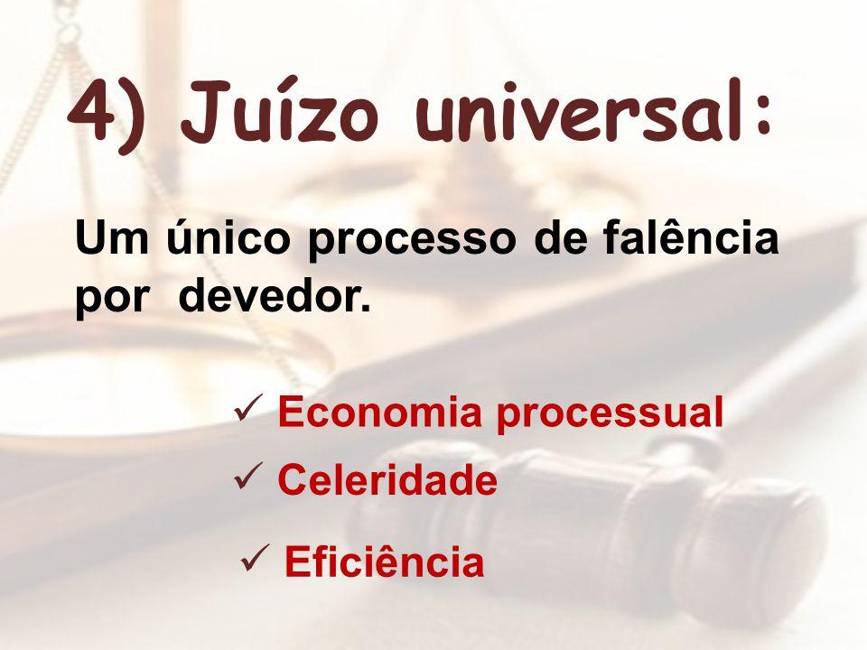 4) Juízo universal: Um único processo de falência por devedor. Economia processual Celeridade Eficiência