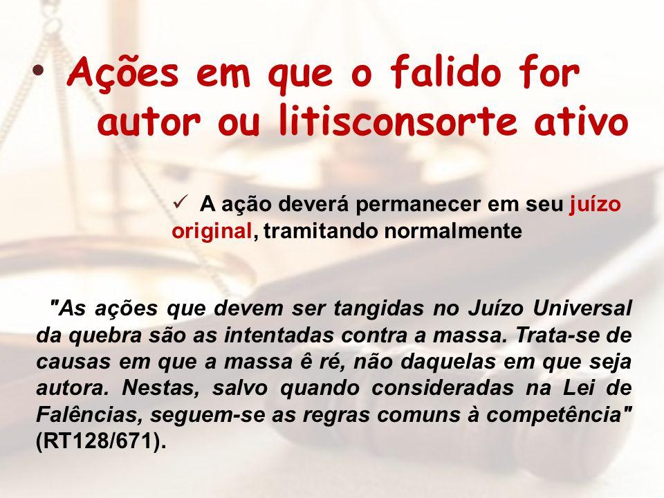 Ações em que o falido for autor ou litisconsorte ativo A ação deverá permanecer em seu juízo original, tramitando normalmente