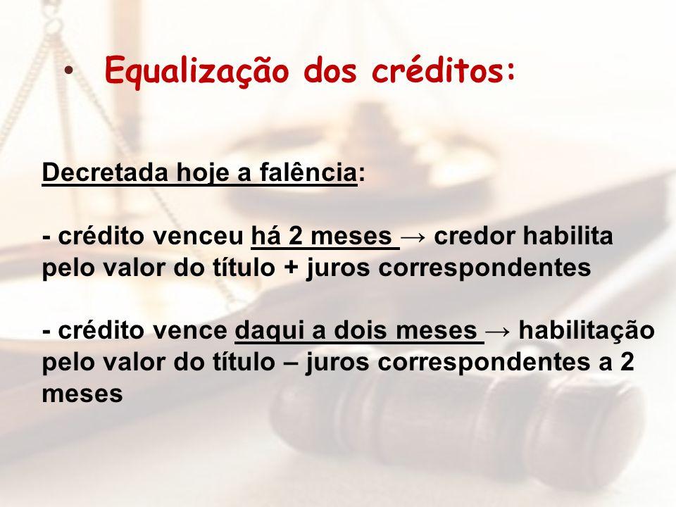 Decretada hoje a falência: - crédito venceu há 2 meses credor habilita pelo valor do título + juros correspondentes - crédito vence daqui a dois meses