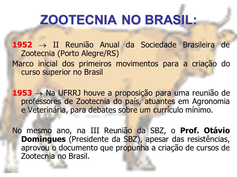 ZOOTECNIA NO BRASIL: 1952 1952 II Reunião Anual da Sociedade Brasileira de Zootecnia (Porto Alegre/RS) Marco inicial dos primeiros movimentos para a criação do curso superior no Brasil 1953 1953 Na UFRRJ houve a proposição para uma reunião de professores de Zootecnia do país, atuantes em Agronomia e Veterinária, para debates sobre um currículo mínimo.