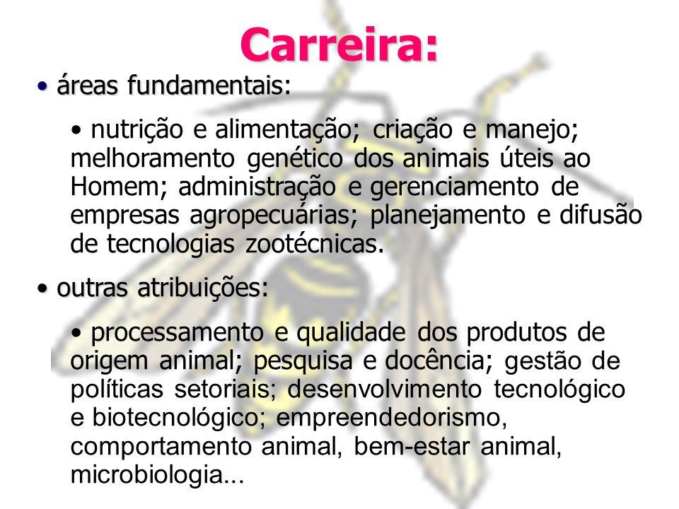 Carreira: áreas fundamentais áreas fundamentais: nutrição e alimentação; criação e manejo; melhoramento genético dos animais úteis ao Homem; administração e gerenciamento de empresas agropecuárias; planejamento e difusão de tecnologias zootécnicas.