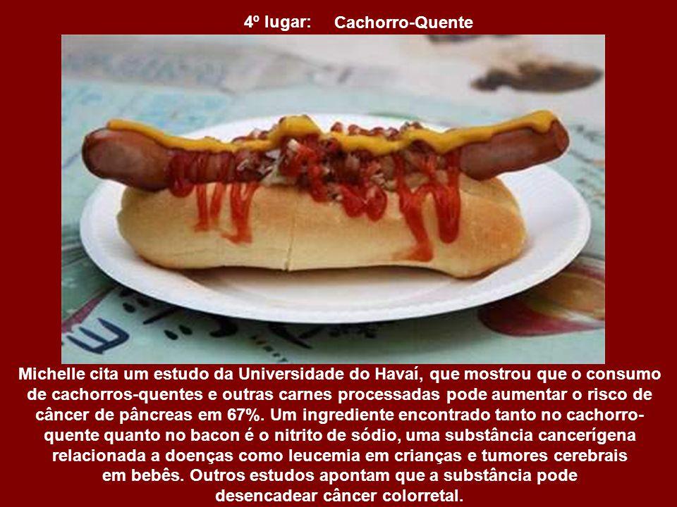 5º lugar: Bacon Segundo a nutricionista, o consumo diário de carnes processadas, como bacon, pode aumentar o risco de doenças cardíacas em 42% e de di