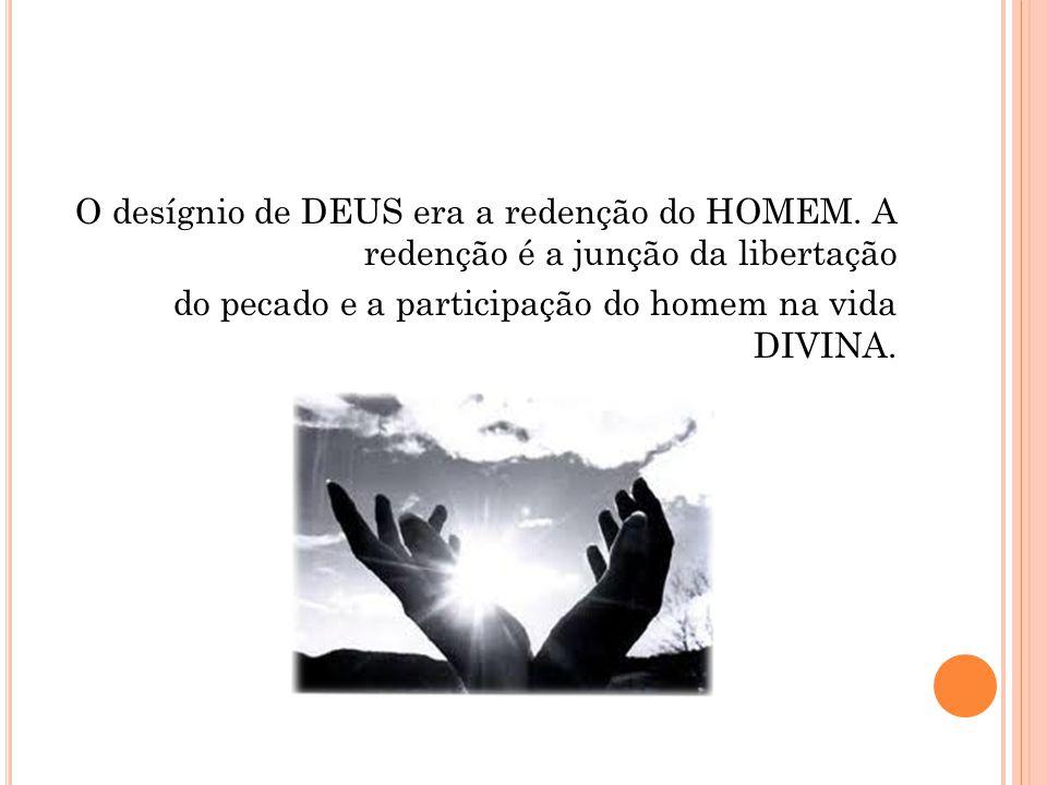 O desígnio de DEUS era a redenção do HOMEM. A redenção é a junção da libertação do pecado e a participação do homem na vida DIVINA.