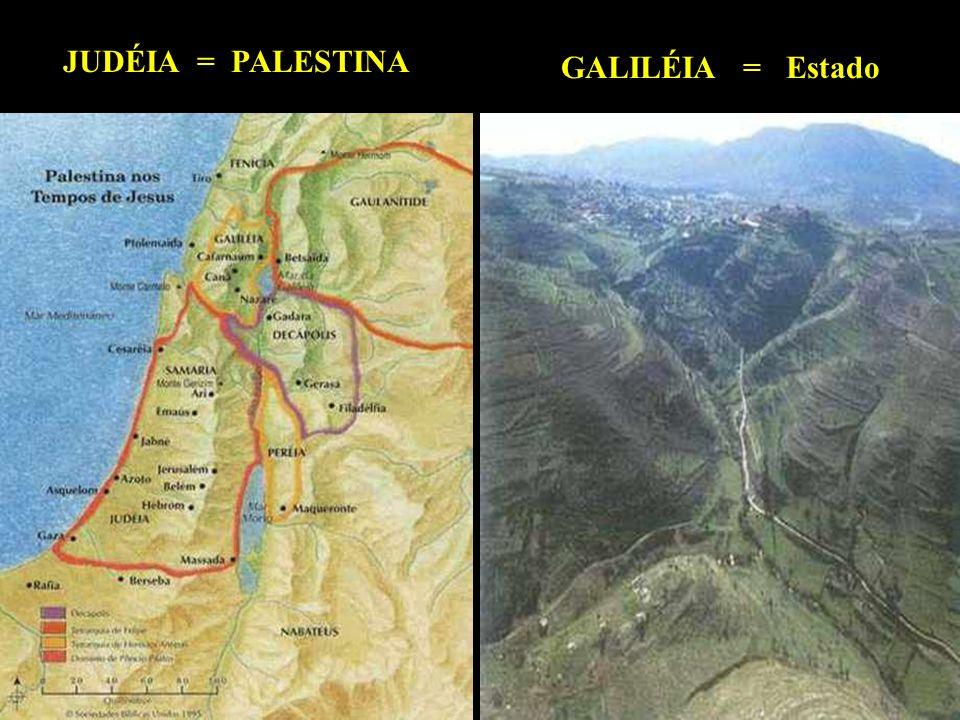 . JUDÉIA Região de Belém (Casa do Pão), onde Jesus nasceu. No ano 135 d.C., os romanos a chamaram de Palestina (terra dos filisteus). Fica entre o Mar