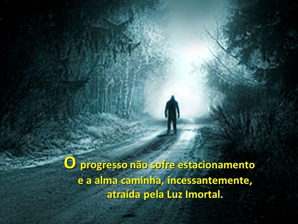 O progresso não sofre estacionamento e a alma caminha, incessantemente, atraída pela Luz Imortal.