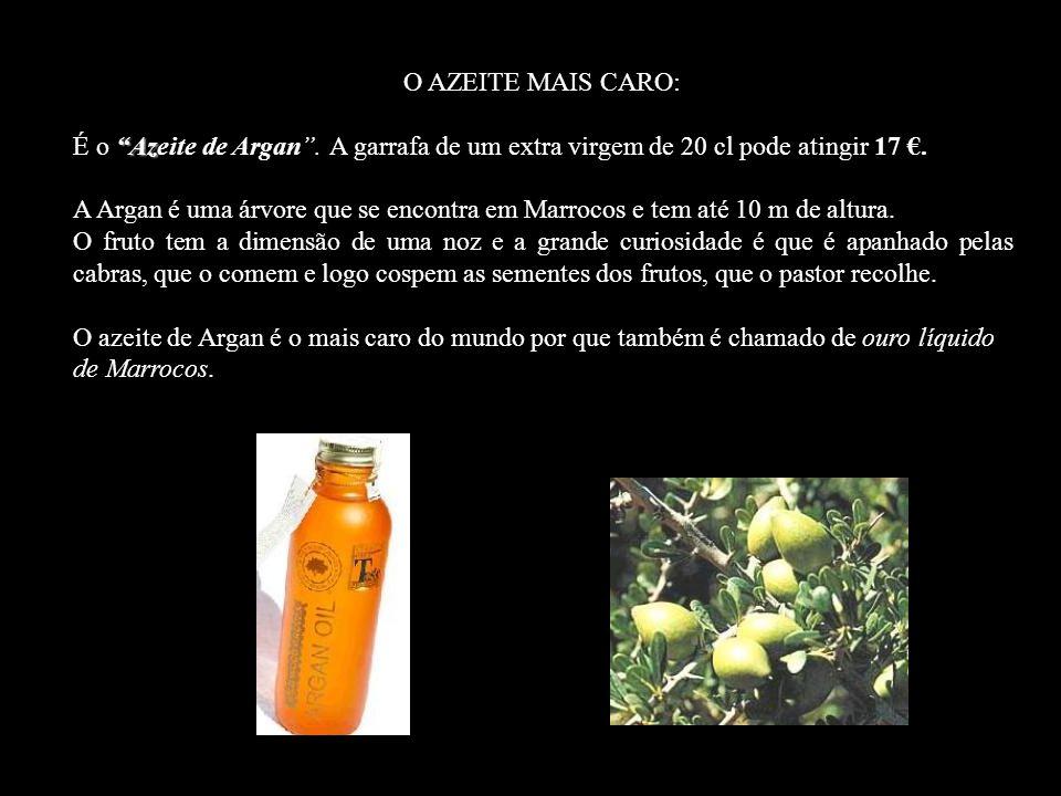 O AZEITE MAIS CARO: Az É o Azeite de Argan.A garrafa de um extra virgem de 20 cl pode atingir 17.