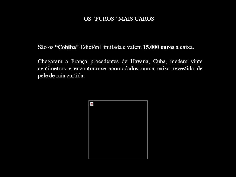 OS PUROS MAIS CAROS: Cohiba15.000 euros São os Cohiba Edición Limitada e valem 15.000 euros a caixa.