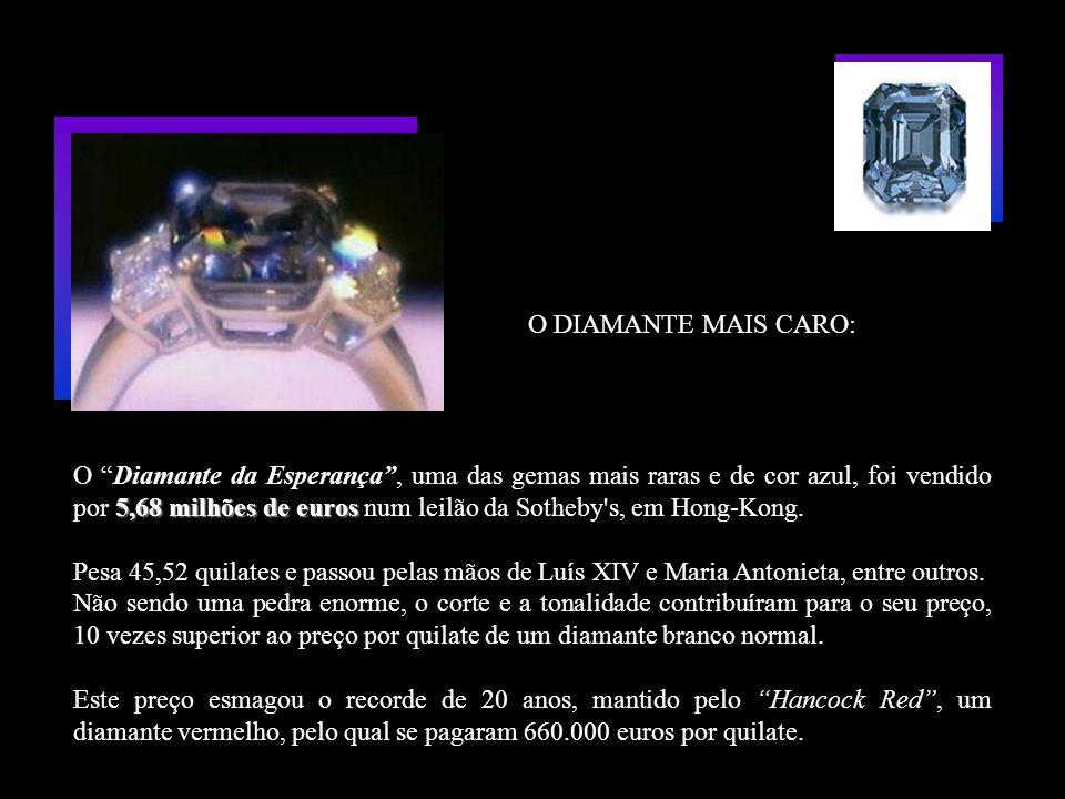 5,68 milhões de euros O Diamante da Esperança, uma das gemas mais raras e de cor azul, foi vendido por 5,68 milhões de euros num leilão da Sotheby s, em Hong-Kong.