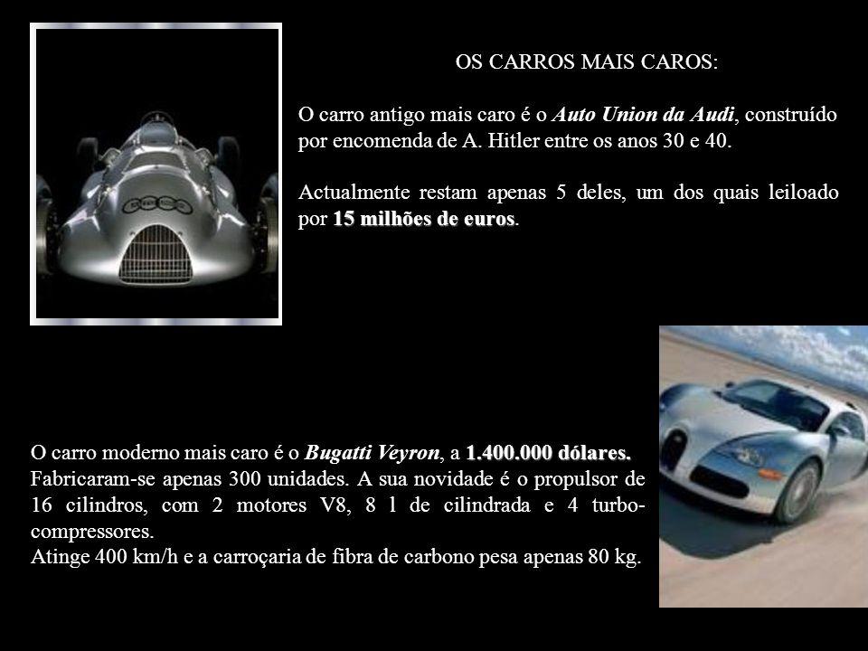 OS CARROS MAIS CAROS: O carro antigo mais caro é o Auto Union da Audi, construído por encomenda de A.