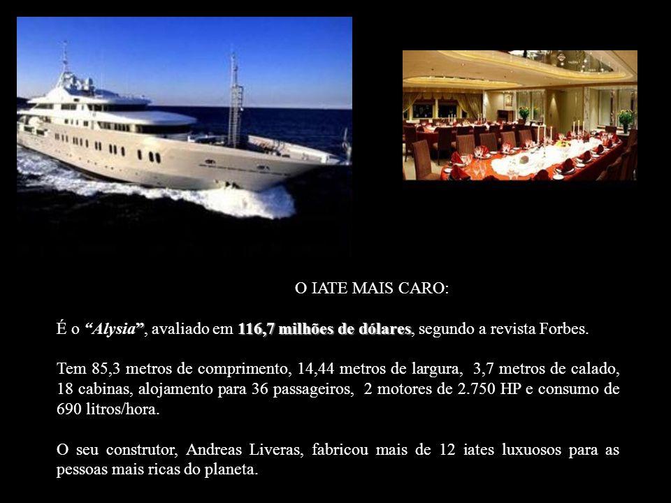 O IATE MAIS CARO: 116,7 milhões de dólares É o Alysia, avaliado em 116,7 milhões de dólares, segundo a revista Forbes.