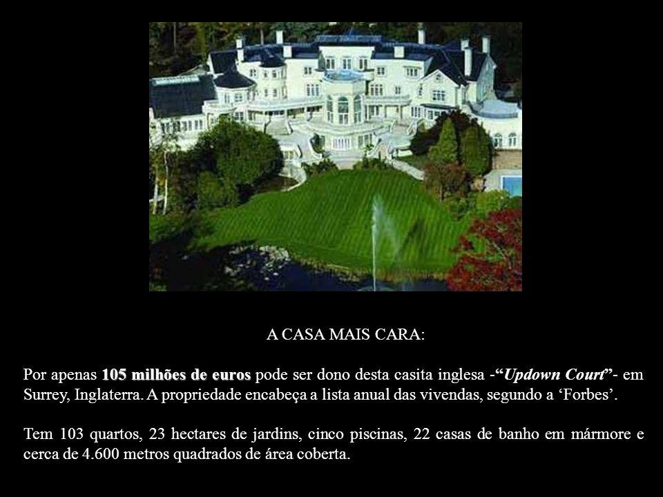 A CASA MAIS CARA: 105 milhões de euros Por apenas 105 milhões de euros pode ser dono desta casita inglesa -Updown Court- em Surrey, Inglaterra.