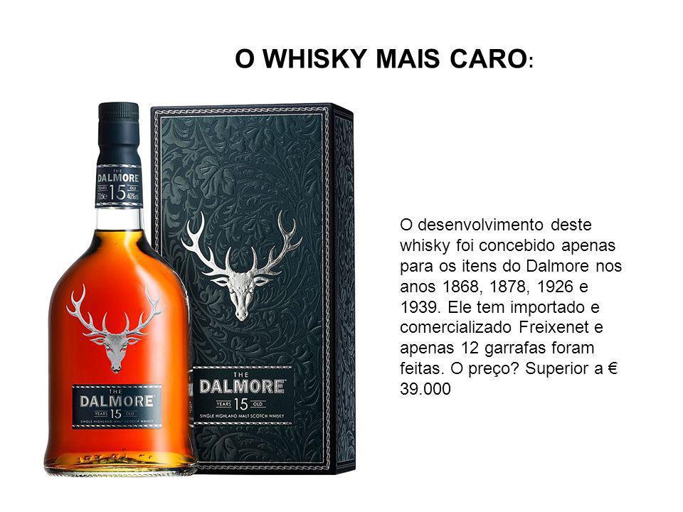 O WHISKY MAIS CARO : O desenvolvimento deste whisky foi concebido apenas para os itens do Dalmore nos anos 1868, 1878, 1926 e 1939.