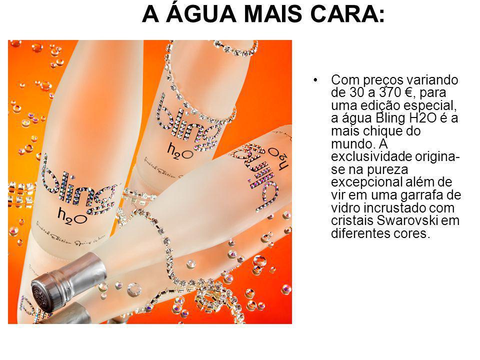 A ÁGUA MAIS CARA: Com preços variando de 30 a 370, para uma edição especial, a água Bling H2O é a mais chique do mundo.