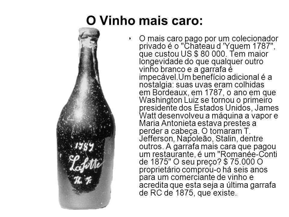 O Vinho mais caro: O mais caro pago por um colecionador privado é o Chateau d Yquem 1787 , que custou US $ 80 000.
