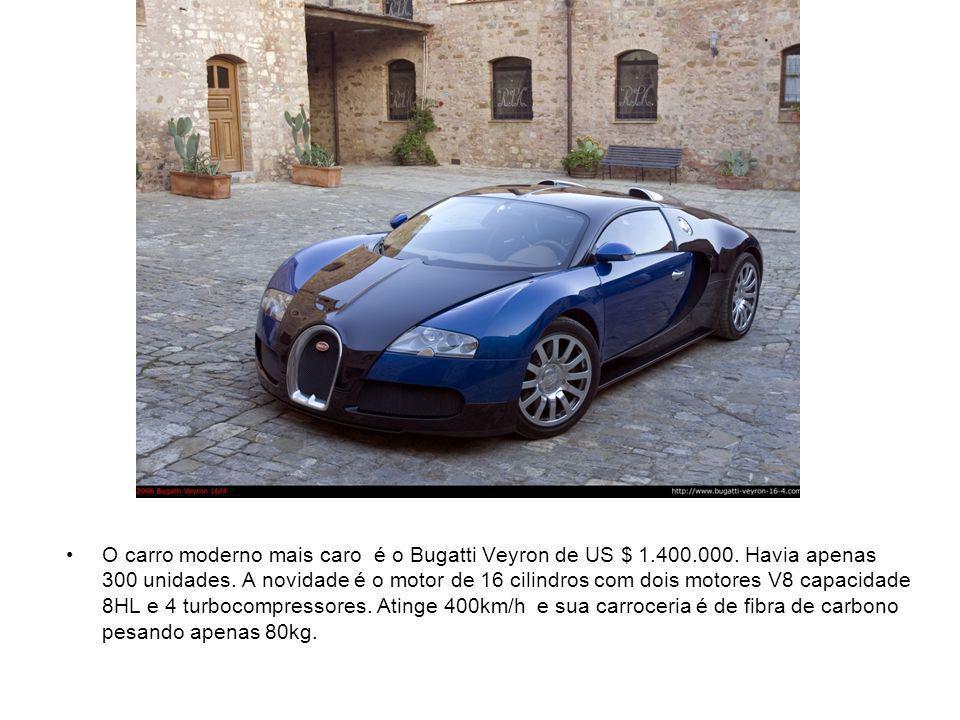 O carro moderno mais caro é o Bugatti Veyron de US $ 1.400.000.