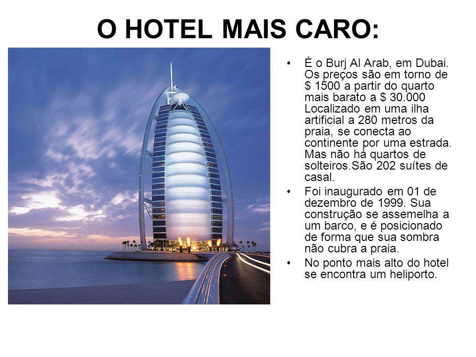 O HOTEL MAIS CARO: É o Burj Al Arab, em Dubai.