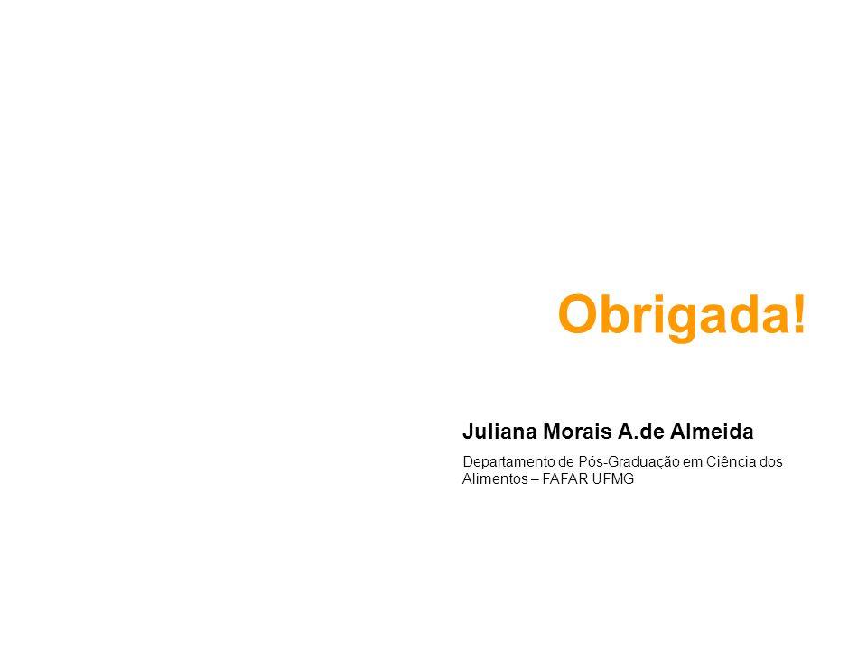 Obrigada! Juliana Morais A.de Almeida Departamento de Pós-Graduação em Ciência dos Alimentos – FAFAR UFMG