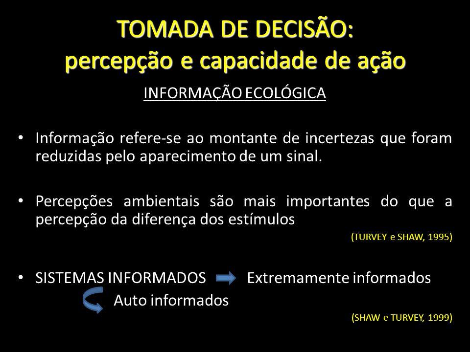 TOMADA DE DECISÃO: percepção e capacidade de ação INFORMAÇÃO ECOLÓGICA Informação refere-se ao montante de incertezas que foram reduzidas pelo apareci