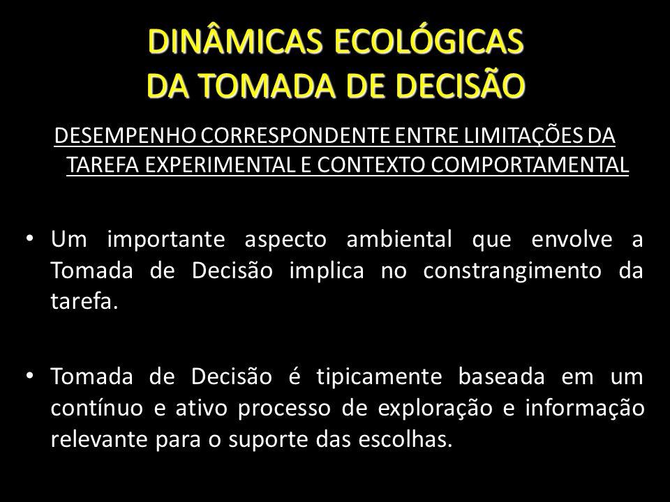 DINÂMICAS ECOLÓGICAS DA TOMADA DE DECISÃO DESEMPENHO CORRESPONDENTE ENTRE LIMITAÇÕES DA TAREFA EXPERIMENTAL E CONTEXTO COMPORTAMENTAL Um importante as