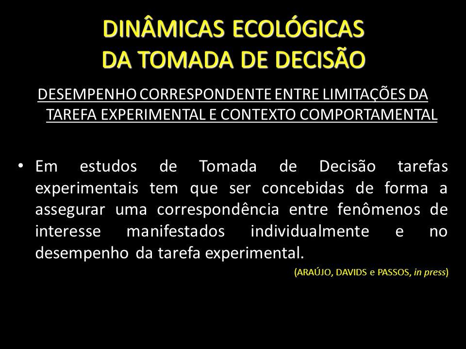 DINÂMICAS ECOLÓGICAS DA TOMADA DE DECISÃO DESEMPENHO CORRESPONDENTE ENTRE LIMITAÇÕES DA TAREFA EXPERIMENTAL E CONTEXTO COMPORTAMENTAL Em estudos de To