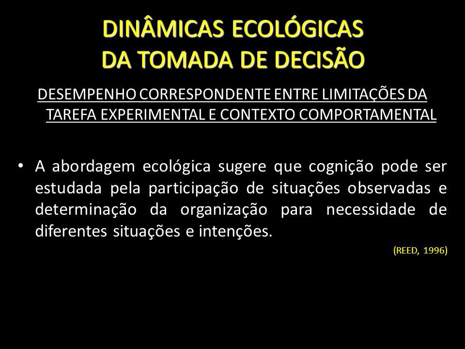 DINÂMICAS ECOLÓGICAS DA TOMADA DE DECISÃO DESEMPENHO CORRESPONDENTE ENTRE LIMITAÇÕES DA TAREFA EXPERIMENTAL E CONTEXTO COMPORTAMENTAL A abordagem ecol