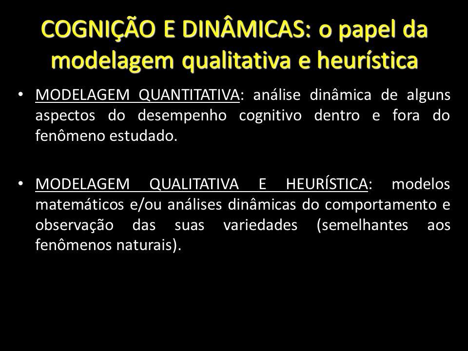 COGNIÇÃO E DINÂMICAS: o papel da modelagem qualitativa e heurística MODELAGEM QUANTITATIVA: análise dinâmica de alguns aspectos do desempenho cognitiv