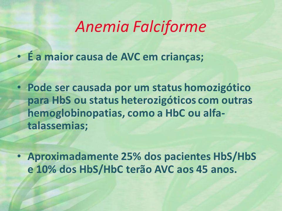 Anemia Falciforme É a maior causa de AVC em crianças; Pode ser causada por um status homozigótico para HbS ou status heterozigóticos com outras hemogl