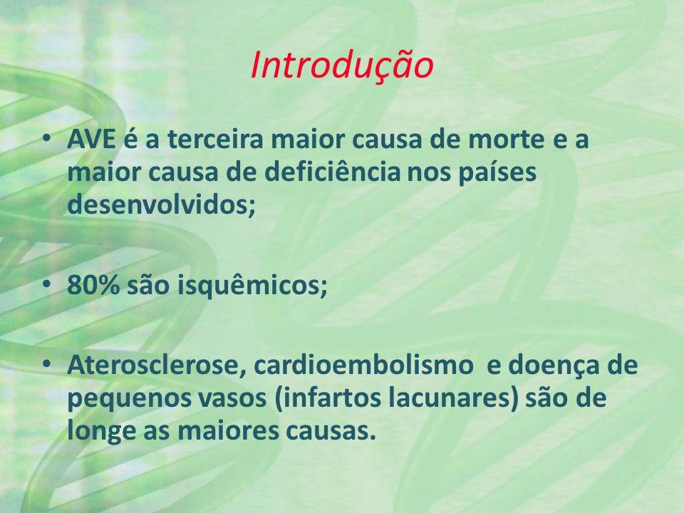 Introdução AVE é a terceira maior causa de morte e a maior causa de deficiência nos países desenvolvidos; 80% são isquêmicos; Aterosclerose, cardioemb