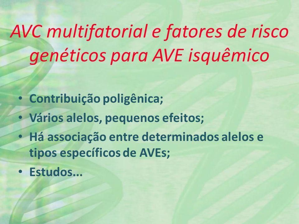 Contribuição poligênica; Vários alelos, pequenos efeitos; Há associação entre determinados alelos e tipos específicos de AVEs; Estudos...