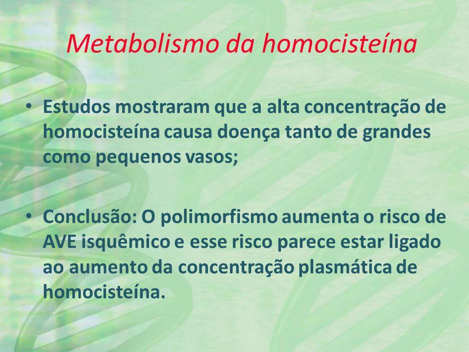 Estudos mostraram que a alta concentração de homocisteína causa doença tanto de grandes como pequenos vasos; Conclusão: O polimorfismo aumenta o risco de AVE isquêmico e esse risco parece estar ligado ao aumento da concentração plasmática de homocisteína.