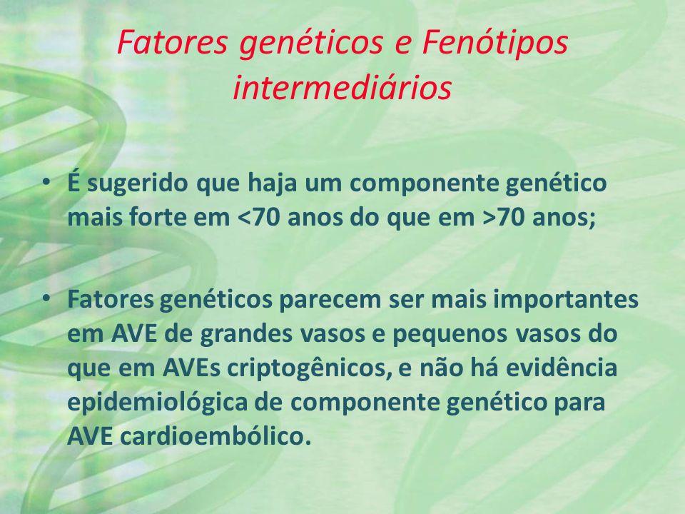 Fatores genéticos e Fenótipos intermediários É sugerido que haja um componente genético mais forte em 70 anos; Fatores genéticos parecem ser mais importantes em AVE de grandes vasos e pequenos vasos do que em AVEs criptogênicos, e não há evidência epidemiológica de componente genético para AVE cardioembólico.