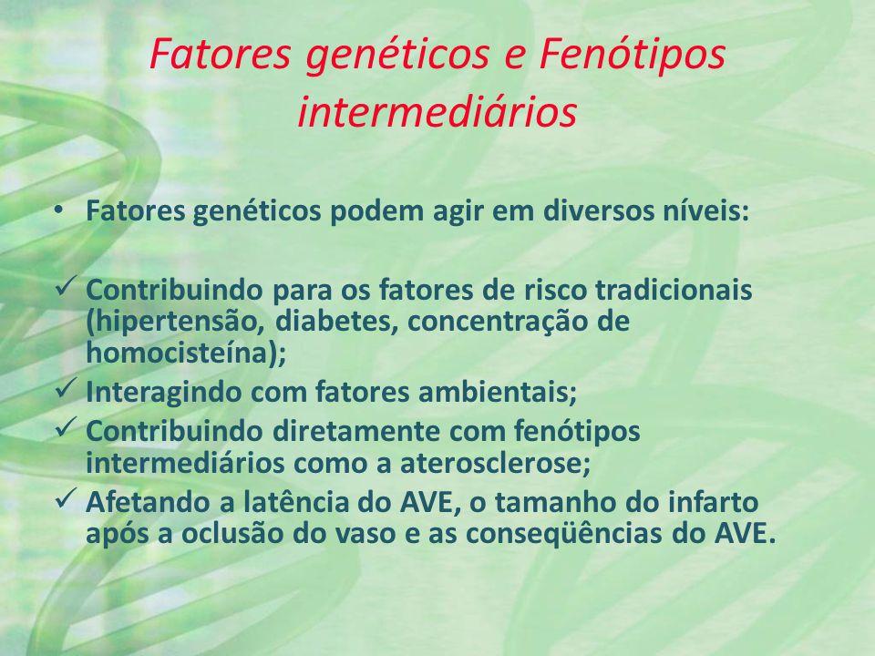 Fatores genéticos e Fenótipos intermediários Fatores genéticos podem agir em diversos níveis: Contribuindo para os fatores de risco tradicionais (hipe