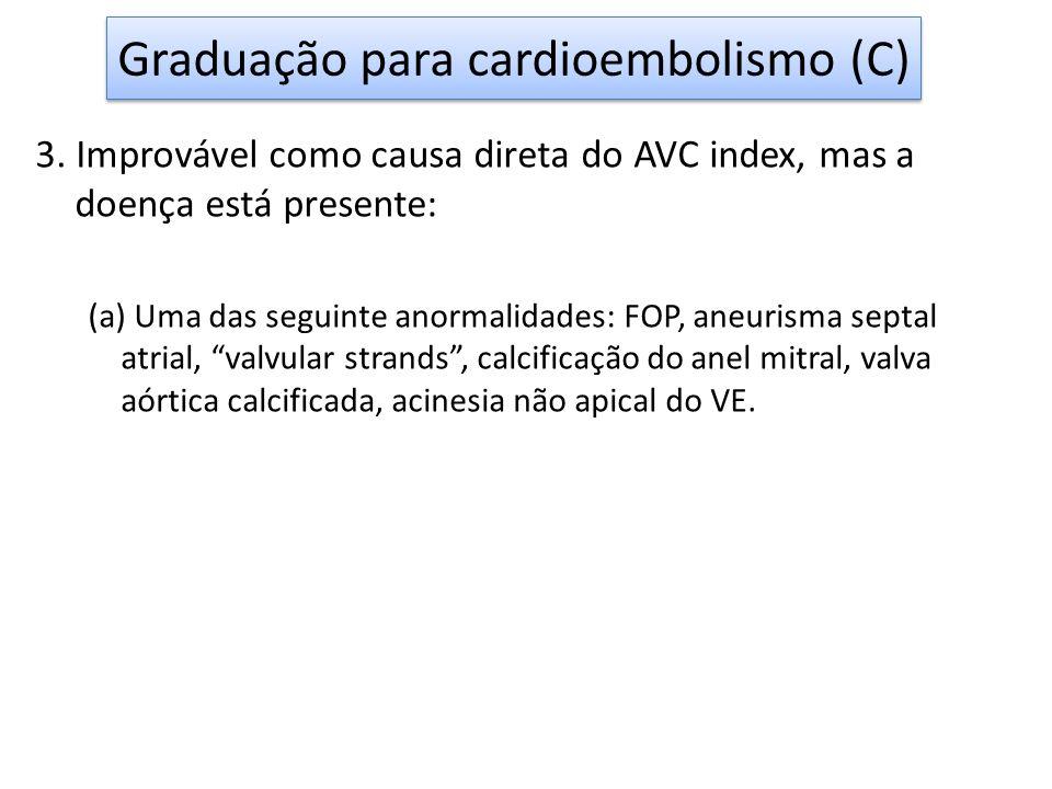 3. Improvável como causa direta do AVC index, mas a doença está presente: (a) Uma das seguinte anormalidades: FOP, aneurisma septal atrial, valvular s