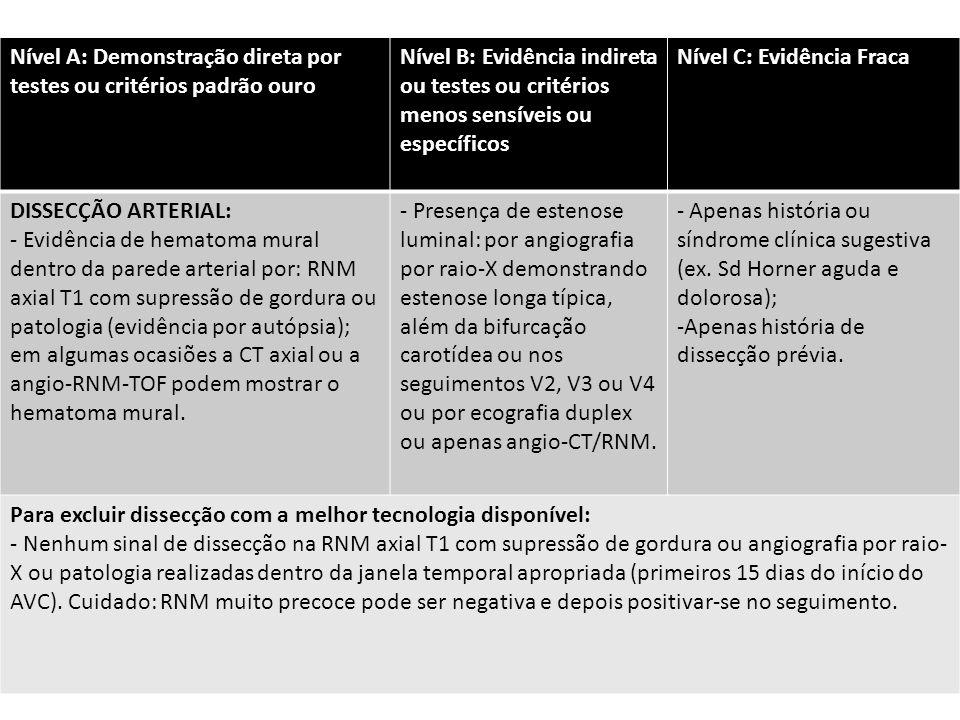 Nível A: Demonstração direta por testes ou critérios padrão ouro Nível B: Evidência indireta ou testes ou critérios menos sensíveis ou específicos Nível C: Evidência Fraca DISSECÇÃO ARTERIAL: - Evidência de hematoma mural dentro da parede arterial por: RNM axial T1 com supressão de gordura ou patologia (evidência por autópsia); em algumas ocasiões a CT axial ou a angio-RNM-TOF podem mostrar o hematoma mural.