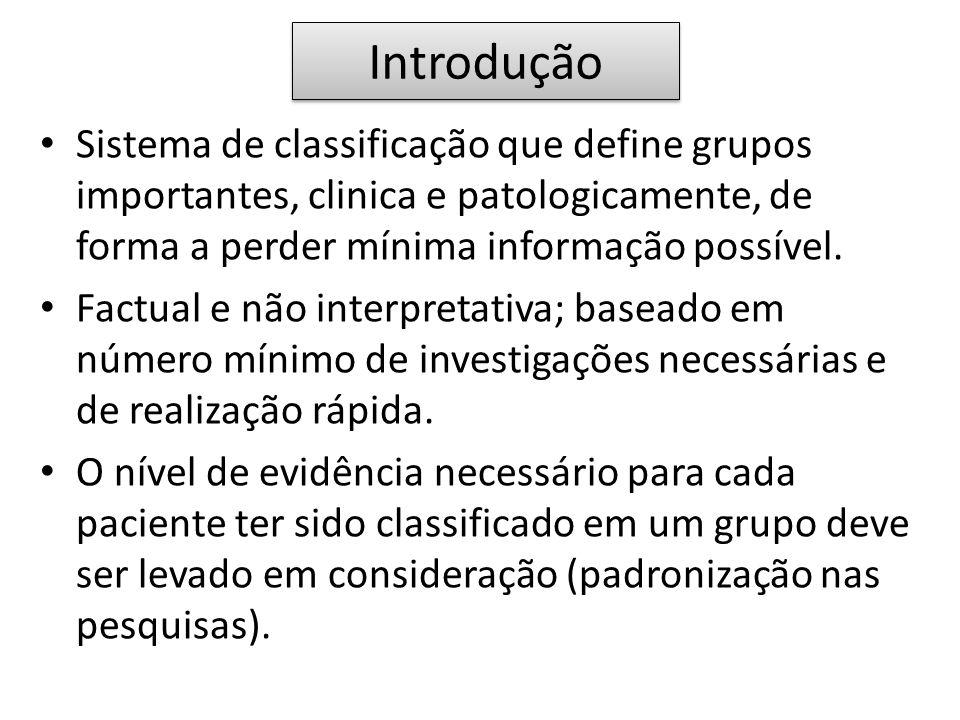 Introdução Sistema de classificação que define grupos importantes, clinica e patologicamente, de forma a perder mínima informação possível.