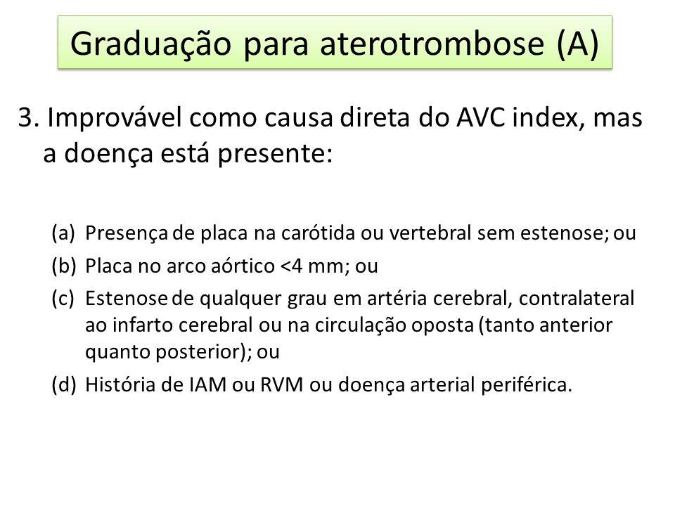 1.Definitivamente uma causa potencial do AVC index associação de: (a)AVC de ramo de artéria profunda: infarto pequeno e profundo com <15 mm na RNM (ou CT) em território compatível com os sintomas; e também (b)Um ou vários infartos lacunares antigos ou silenciosos em territórios diferentes do AVC index; ou (c)Leucaraiose na RNM (ou CT), microsangramentos na RNM (gradiente echo); dilatação dos espaços perivasculares na RNM (ou CT); ou (d)AITs similares e recentes repetidos: quando precedem o AVC em um mês ou antes e são atribuíveis ao mesmo território (o que aumenta o poder preditivo para AVC lacunar de 57 para 80%).