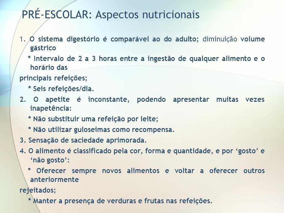 PRÉ-ESCOLAR: Aspectos nutricionais 1. O sistema digestório é comparável ao do adulto; diminuição volume gástrico * Intervalo de 2 a 3 horas entre a in
