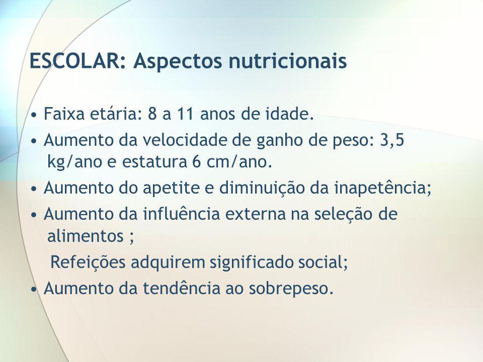 ESCOLAR: Aspectos nutricionais Faixa etária: 8 a 11 anos de idade. Aumento da velocidade de ganho de peso: 3,5 kg/ano e estatura 6 cm/ano. Aumento do