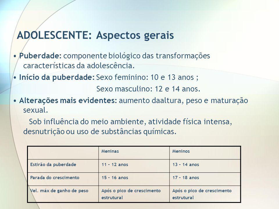 ADOLESCENTE: Aspectos gerais Puberdade: componente biológico das transformações características da adolescência. Início da puberdade: Sexo feminino: 1