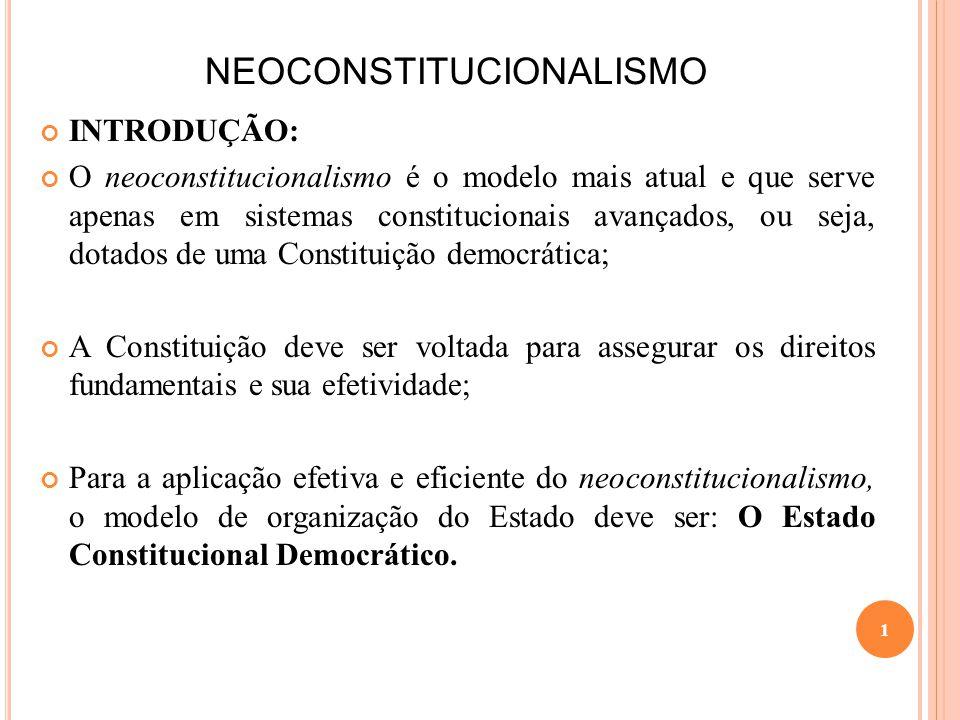 NEOCONSTITUCIONALISMO INTRODUÇÃO: O neoconstitucionalismo é o modelo mais atual e que serve apenas em sistemas constitucionais avançados, ou seja, dot